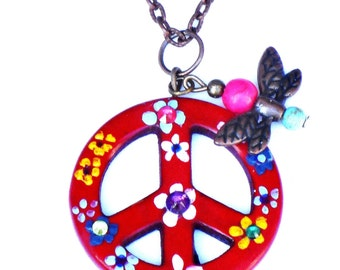 Painted Flower Peace Necklace Bohemian Hippie Butterfly Jewelry FREE SHIPPING