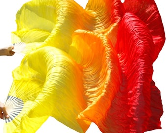 Silk Dance Fans // Yellow, Orange, and Red