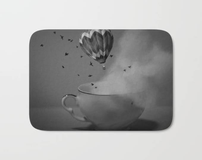 Bath Mat -  Hot Air Balloon - Tea Cup - Fantasy Bathroom Mat -  Made to Order