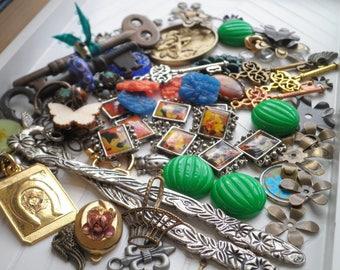 Destash Vintage Charm Pendant Bead Cabochon & Kay Lot - Floral Animal Nature Bohemian Art Nouveau Retro + New Jewellery Making Supplies Gift
