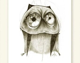 Owl Big Eyes Print A5 Sepia