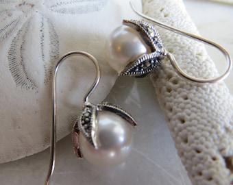 Marcasite Earrings, Swarovski Pearl Earrings, Pearl Earrings, June Birthstone Earrings, 30th Wedding Anniversary Earrings, Winter White