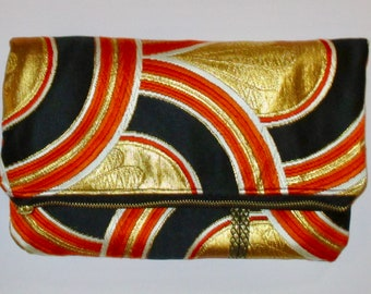 Black with Orange and Gold Arches Two-way Fold Over Obi Silk Clutch Purse