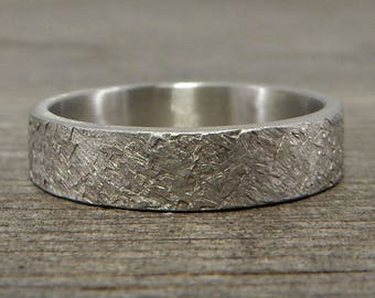 Recycled 950 Palladium Wedding Band - Concrete Texture, Square Edged, Eco-Friendly, Ethical, Mens or Womens, Made To Order