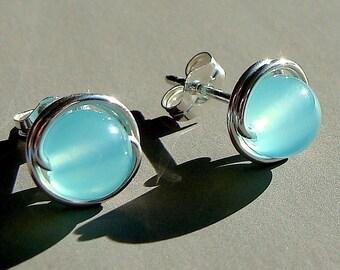 Sea Blue Chalcedony Studs 6mm Sea Blue Chalcedony Post Earrings Wire Wrapped in Sterling Silver Stud Earrings Chalcedony Studs