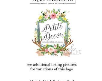 Crest Logo, Watercolor Crest Logo, Custom Crest, Custom Wedding Logo, Monogram Logo, Wedding Monogram, Custom Crest, Antler Crest Logo