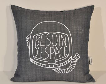 Need space Cushion cover. collaboration. illustration. Silkscreen. handmade. Astronaut helmet. space