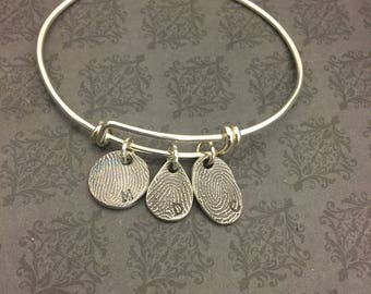 Bangle Bracelet - Fingerprint Bracelet -Thumbprint Bracelet - Thumbprint Keepsake - Personalized Jewelry - Say Anything Jewelry - Thumbprint