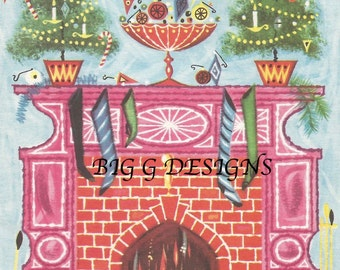 Vintage Christmas greeting card tree fireplace ornaments digital download printable instant image clip art