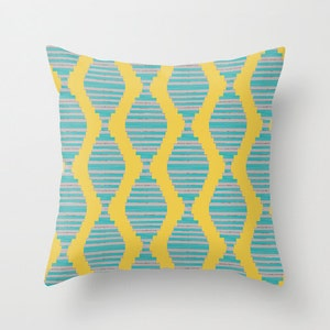 Throw Pillow Cover Abstract Teal Yellow Grey Modern Home Decor Living Room  Bedroom Accessories Cushion