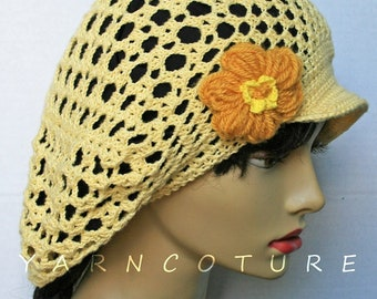 Limited Edition Brimmed Crocheted Mesh Hat With Flower / Stretch Satin Lining