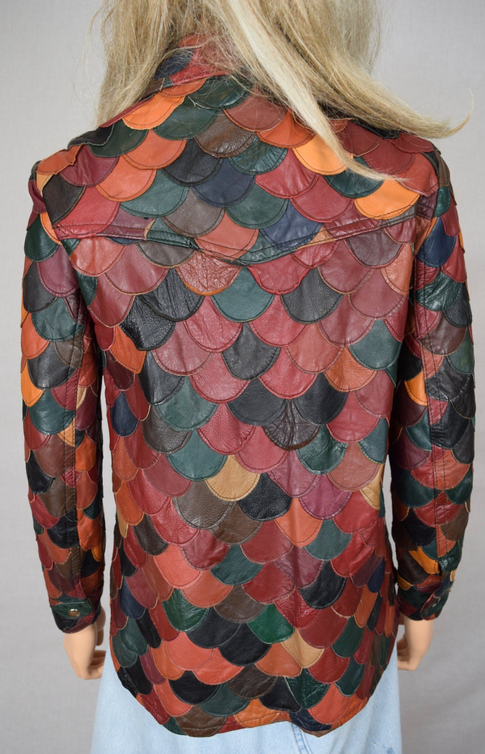 Vintage 1970\'s Women\'s Multi-Colored Patchwork Fish Scale Leather ...