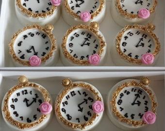 Alice in Wonderland oreos, pocket watch oreos, clock oreos,