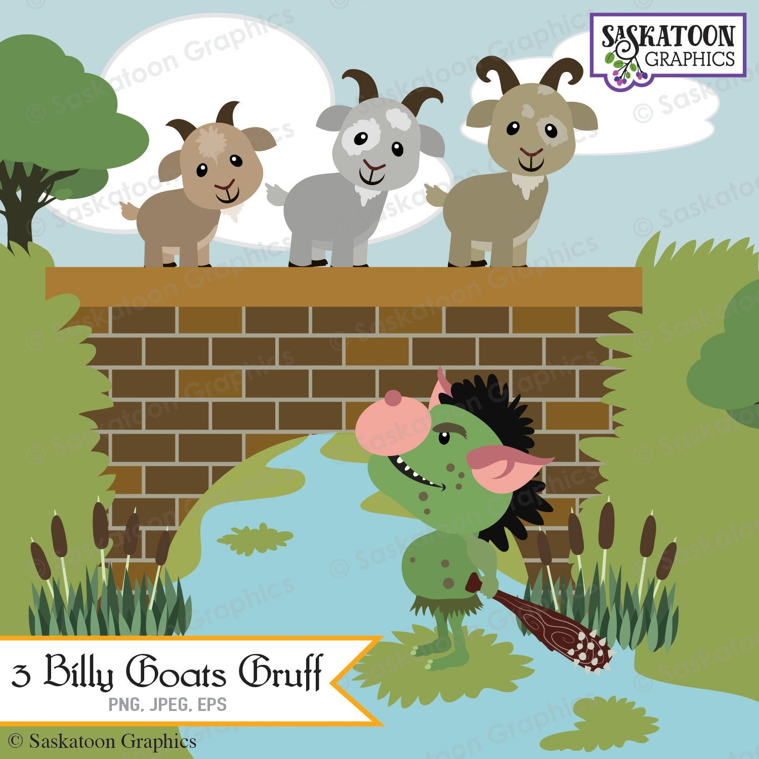 Wall Stickers Design Your Own Three Billy Goats Gruff Clipart Instant Download File