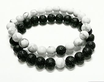 long distance relationship bracelet boyfriend gift matching couples bracelet his and her jewelry boyfriend girlfriend lava & howlite white