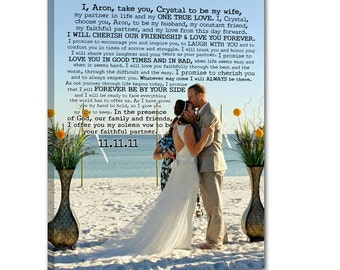 Vintage Glam Photo Canvas Art Wedding Gift Use Vows and Lyrics Word Art  18X24