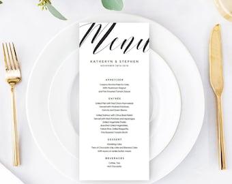 Calligraphy Wedding Menu Template Download, Printable & Editable Minimal Wedding Menu, A4, US Letter Wedding Menu PDF Instant Download.