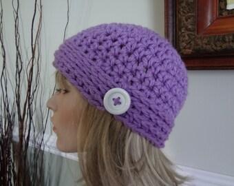 Lavender Lilac Purple Crochet Skull Cap Flapper Hat Beanie