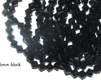 50 - 6mm Glass Bicones - black (083)