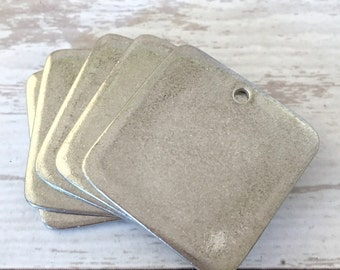 5 ImpressArt Pewter Square Stamping Blanks - Soft Strike - Ready to stamp - Made in USA - Easy to stamp Name Necklace