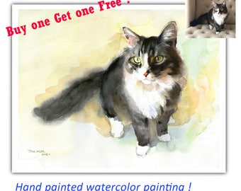 Custom Cat Portrait, Hand Painted Watercolor Portrait, Custom Cat Painting, Commission Art, Personalized Gift