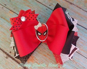 Spiderman hair bow, Spiderman headband, Spiderman hair clip, Spiderman birthday, Spiderman bow, Spiderman hair accessory, hair bow spiderman