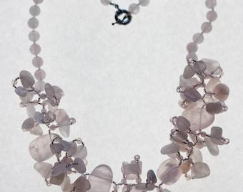 Women's Necklace Stone Pink Quartz Flower Necklace Handmade Semi-Precious Necklace for Women