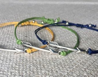 Arrow charm connector, yarn bracelet.