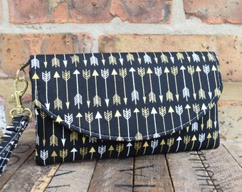 Gold and Black Smart Phone Wallet, Bridesmaids Clutches, Black Tribal Clutches, Bridesmaids Gift, Bridesmaids Wristlets