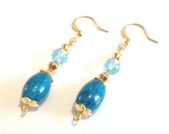 Blue Beaded Dangle Earrings, Gold Jewelry, Handmade Glass Bead Earrings
