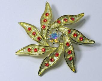 Vintage Brooch, Red and Gold Flower, Red Rhinestones. Goldtone, Whirling Sunburst Pin, Spiraling Star