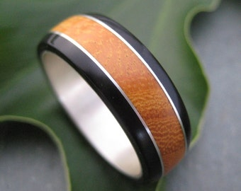 Size 9 READY TO SHIP Moran Fuerte Wood Ring - recycled sterling and organic wood band