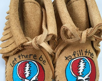 Custom Hand-Painted Grateful Dead Steal Your Face Baby Booties Moccasins Let There Be Songs to Fill the Air