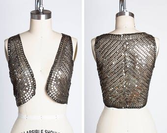 ZIEGFELD GIRL Vintage 1920s/1930s Sequined and Beaded Mesh Vest // SO Gloria Swanson // Theda Bara // Costume // Flapper // Art Deco //