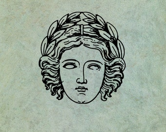 Greek Goddess Wearing an Olive Branch Crown - Antique Style Clear Stamp