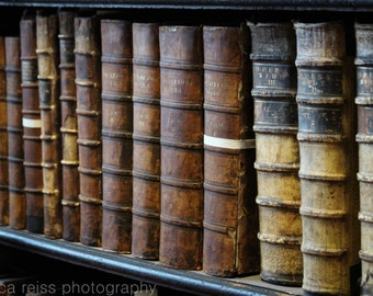 Vintage Photo Antique Old Leather Bound Books Photography Art Print Trinity College Library Long Room Dublin Ireland Rustic Home Decor