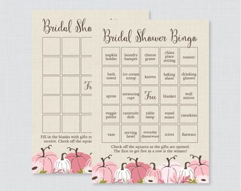 Pink Pumpkin Bridal Shower Bingo Printable - 60 Unique Pre-filled Bingo Cards AND Blank Cards - Rustic Autumn Pumpkin Shower Bingo 0019-P