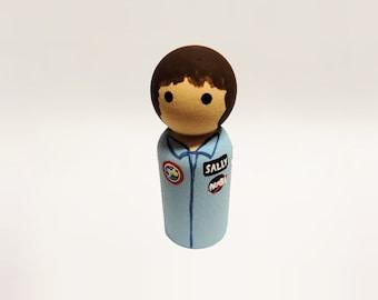 Sally Ride Peg Doll Astronaut Figurine / Peg People / Feminist Historical Decoration NASA Space