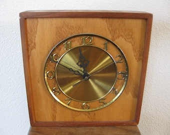 Homemade Wood Clock with Gold Toned Face