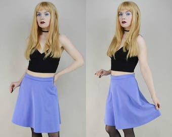 90s Baby Blue A Line Mini Skater Skirt M