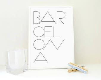 Barcelona Printable Art Print, Barcelona Poster, Minimal Wall Art, Travel Poster, Spain Print, Typography Print, Anniversary Gift, PDF & JPG