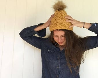 Fur Top Beanie, Cable Slouchy Hat, Fur Pom Slouchy Hat, Mustard Yellow Beanie, Women's Winter Hat, Gifts for Women, Fake Fur Pom Pom