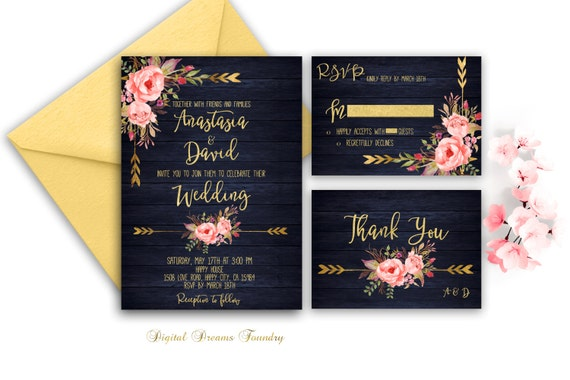 Navy Blue And Gold Wedding Invitations: Navy Blue Wedding Invitation Printable Gold Wedding Floral