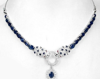 Natural Blue Sapphire gemstones, 14kt White Gold Necklace 17 1/2""
