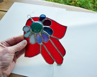 Red Flower Hamsa - Stained Glass Suncatcher in Crimson, Red, Blue, Turquoise, Aqua