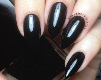 BLACK PEARL - Vegan Black Creme Nail Polish, Natural Nail Polish, Nail Lacquer, Organic Makeup, Natural Beauty Gifts, Goth Gifts, AnnBoyar
