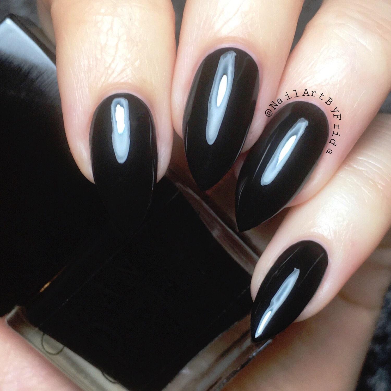 BLACK PEARL Vegan Black Creme Nail Polish Natural Nail