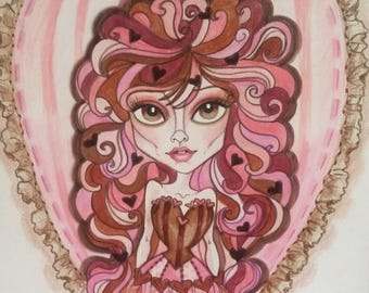 Valentine Girl Big Eye Fantasy Pin up Pinks and Browns Art Print by Leslie Mehl Art