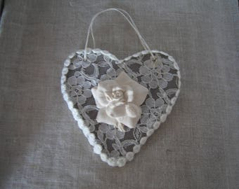 shabby heart hanging, and plaster rose