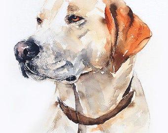 "Pet portrait, custom 11"" x 15"" original watercolor, dog painting, dog art, great gift, dog lover gift."